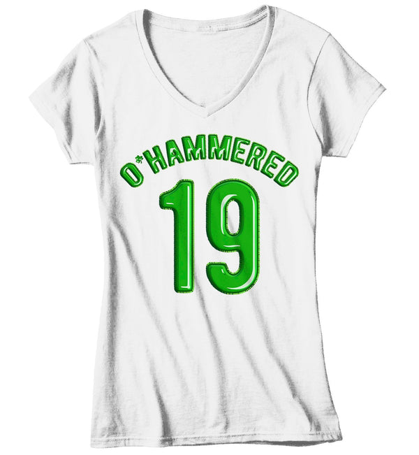 Women's Funny O'Hammered T-Shirt Drinking St. Patrick's Day Shirts Graphic Tee Beer Drunk Tshirt Hipster TShirts-Shirts By Sarah