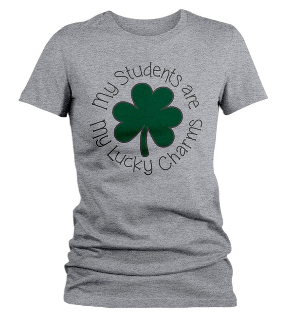 Women's Teacher T-Shirt St. Patrick's Day Shirts Students Are Lucky Charms Graphic Tee Tshirt Clover-Shirts By Sarah