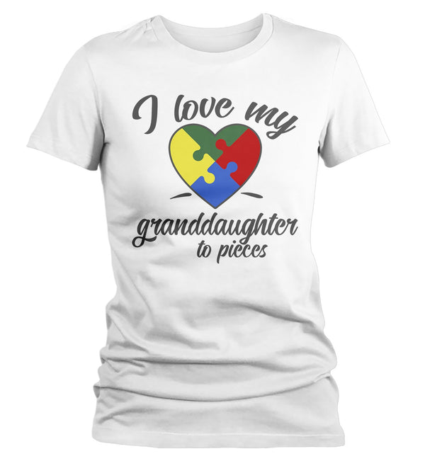 Women's Autism Grandma T-Shirt Puzzle Heart Autism Shirts Love My Granddaughter To Pieces Awareness TShirt-Shirts By Sarah