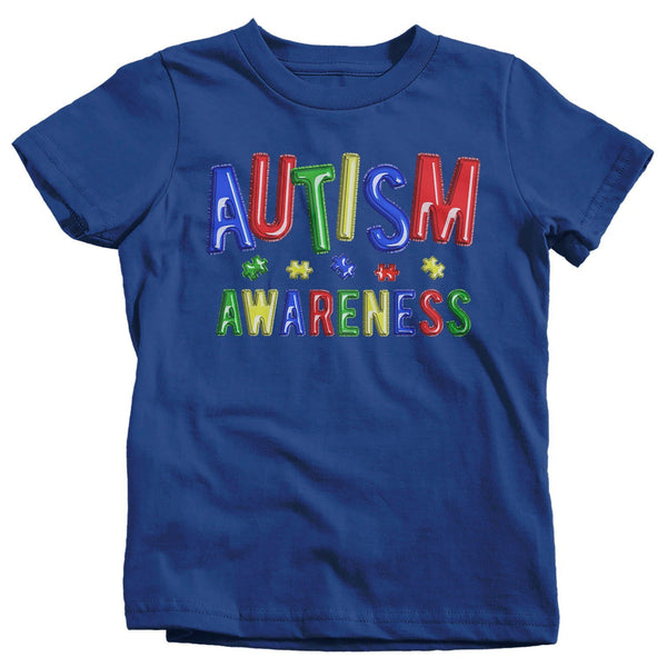 Kids Autism Awareness T-Shirt Puzzle Autism Shirts Colorful Balloons Fun Autistic Awareness TShirt-Shirts By Sarah
