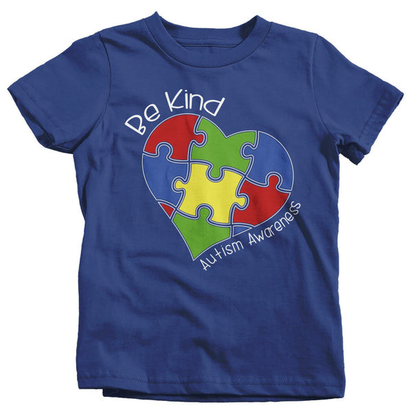 Kids Be Kind T-Shirt Autism Awareness Shirts Puzzle Heart Autistic Awareness TShirt Toddler-Shirts By Sarah