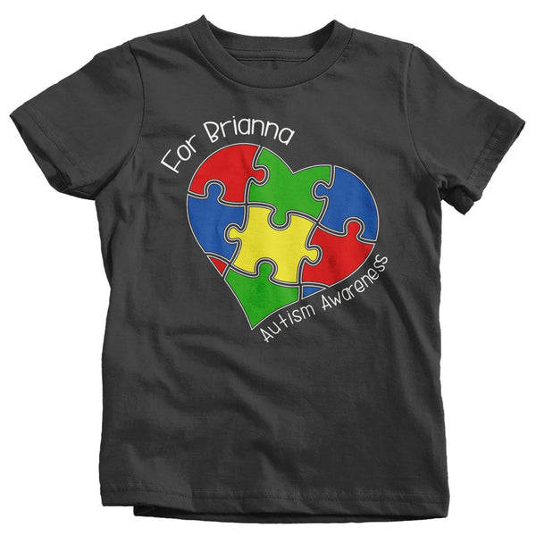 Kids Personalized Autism T-Shirt Awareness Shirts Puzzle Heart Tee Custom Support Tee Toddler-Shirts By Sarah