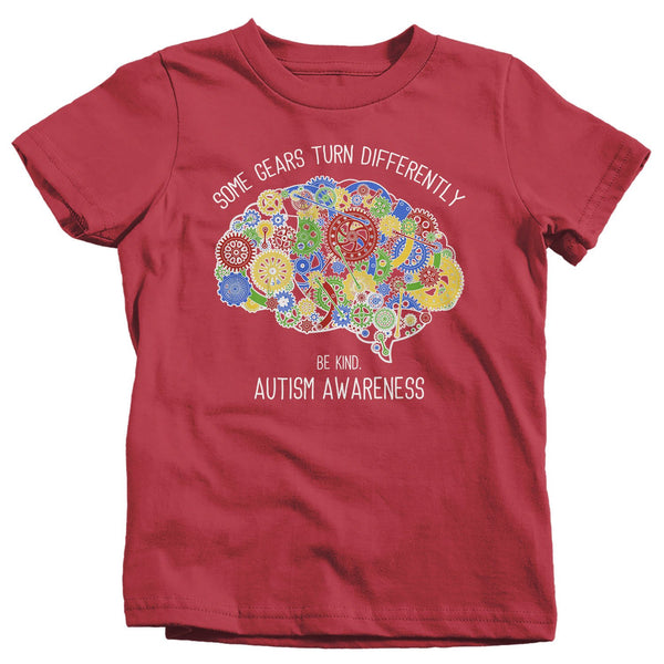 Kids Autism Shirt Autism Brain Shirts Some Gears Turn Differently Graphic Tee Autism Awareness TShirt Toddler-Shirts By Sarah