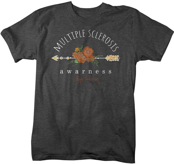 Men's Multiple Sclerosis Awareness T-shirt Hope Love Cure Multiple Sclerosis Shirts Orange Flowers TShirt MS Shirts Watercolors-Shirts By Sarah