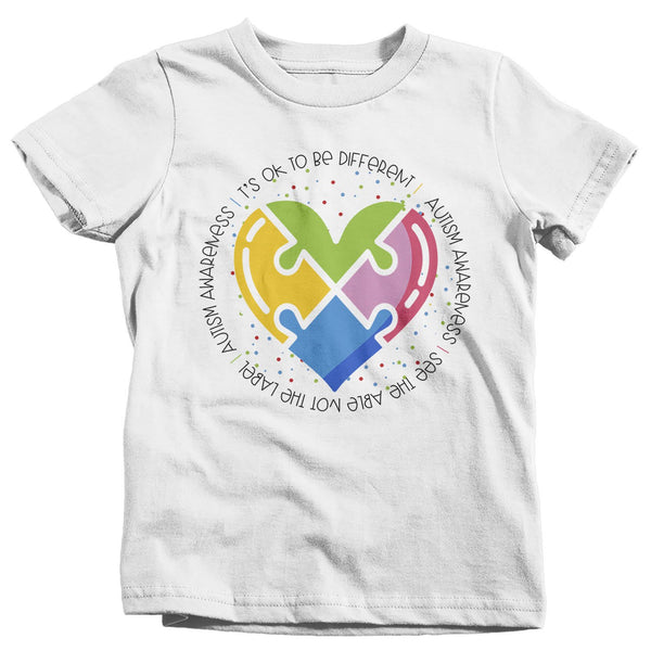 Kids Autism Awareness T Shirt Be Different Puzzle Heart Autism Shirt See Able TShirt Support Tee Toddler-Shirts By Sarah