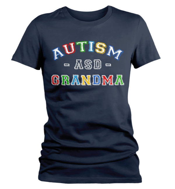 Women's Autism Grandma Shirt ASD Autism Spectrum Shirts Awareness Tee Grandmas Grandmother Support Tee-Shirts By Sarah