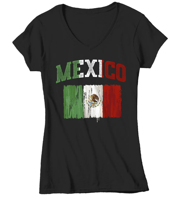 Women's Mexico T Shirt Cinco De Mayo Shirts Mexican Flag Grunge Graphic Tee Mexican Pride Tshirt-Shirts By Sarah