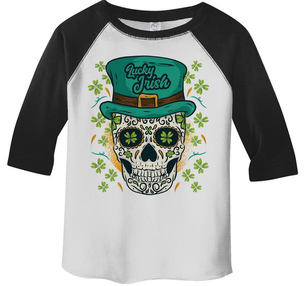 Kids Sugar Skull T-Shirt St. Patrick's Day Shirts Graphic Tee Skulls Tshirt Raglan 3/4 Sleeve Lucky Irish TShirts Toddler Tees-Shirts By Sarah