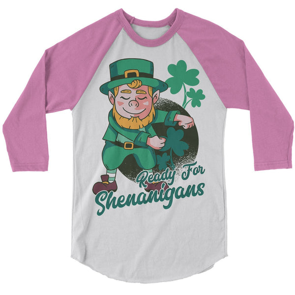 Men's Leprechaun T-Shirt St. Patrick's Day Raglan 3/4 Sleeve Shenanigans Shirts Graphic Tee Dancing Tshirt Hipster TShirts-Shirts By Sarah
