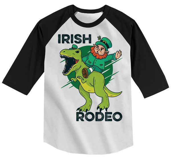 Kids Funny Leprechaun T-Shirt Irish Raglan 3/4 Sleeve Rodeo T-Rex Shirts Graphic Tee Dinosaur Tshirt Hipster TShirts Toddler Tees-Shirts By Sarah