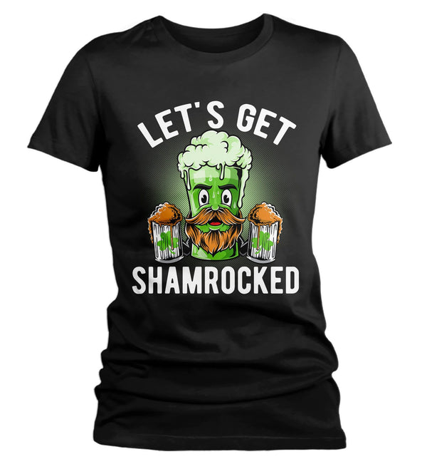 Women's Funny Beer T-Shirt Shamrocked St. Patrick's Day Shirts Graphic Tee Let's Get Tshirt Hipster TShirts-Shirts By Sarah