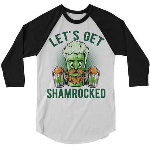 Men's Funny Beer T-Shirt Shamrocked Raglan 3/4 Sleeve St. Patrick's Day Shirts Graphic Tee Let's Get Tshirt Hipster TShirts-Shirts By Sarah