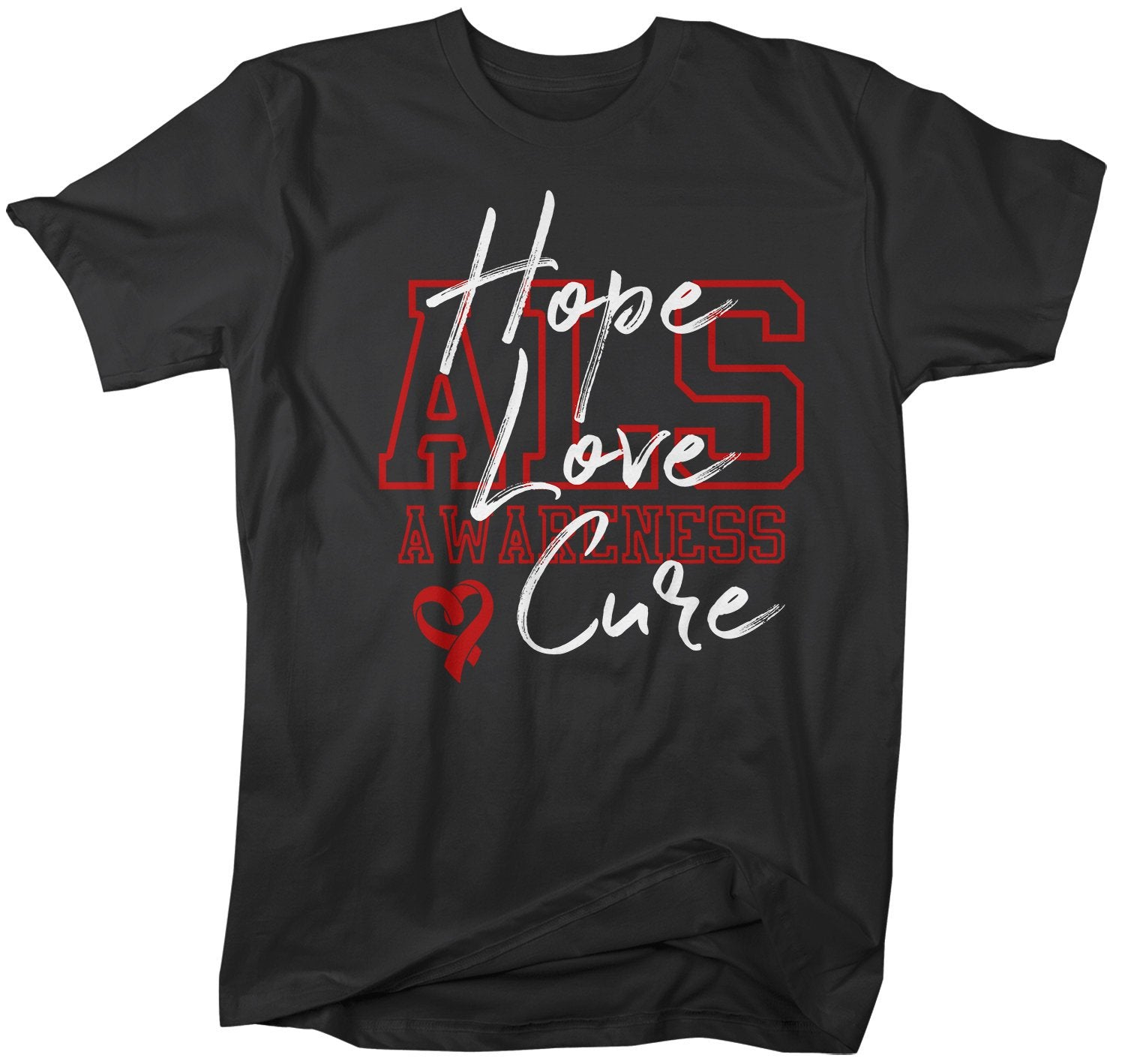 Men's Hope Love Cure ALS T-Shirt Red ALS Amyotrophic Lateral