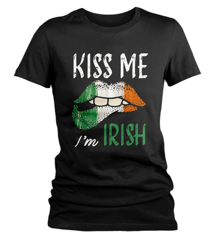 Women's Kiss Me I'm Irish T-Shirt St. Patrick's Day Shirts Graphic Tee Lips Tshirt Cool Hipster TShirts-Shirts By Sarah