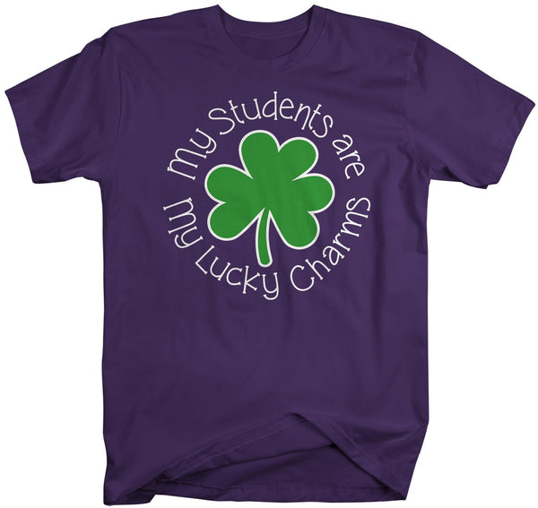 Men's Teacher T-Shirt St. Patrick's Day Shirts Students Are Lucky Charms Graphic Tee Tshirt Clover-Shirts By Sarah