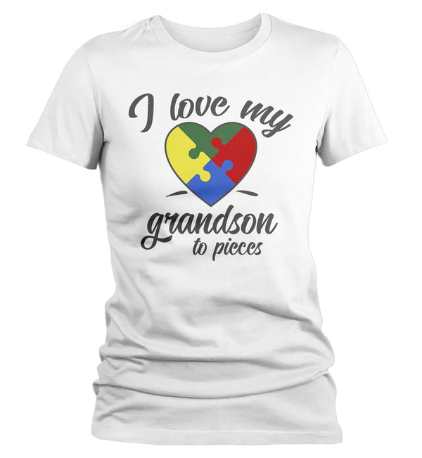 Women's Autism Grandma T-Shirt Puzzle Heart Autism Shirts Love My Grandson To Pieces Awareness TShirt-Shirts By Sarah