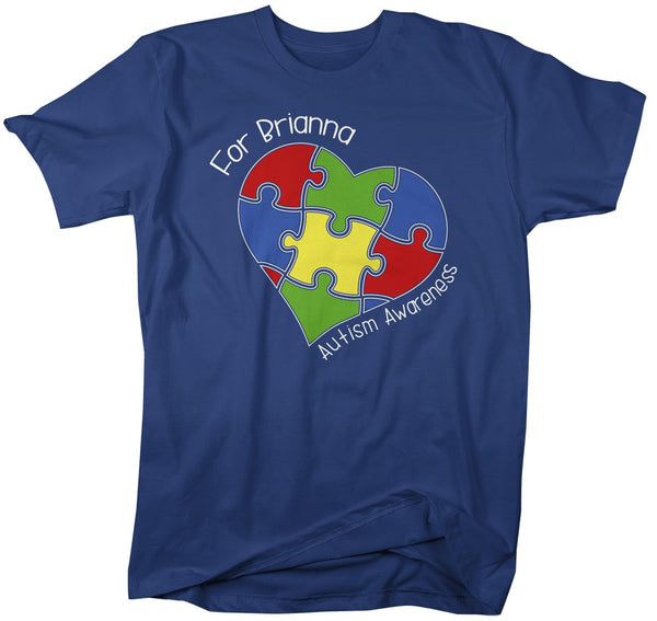 Men's Personalized Autism T-Shirt Awareness Shirts Puzzle Heart Tee Custom Support Tee-Shirts By Sarah