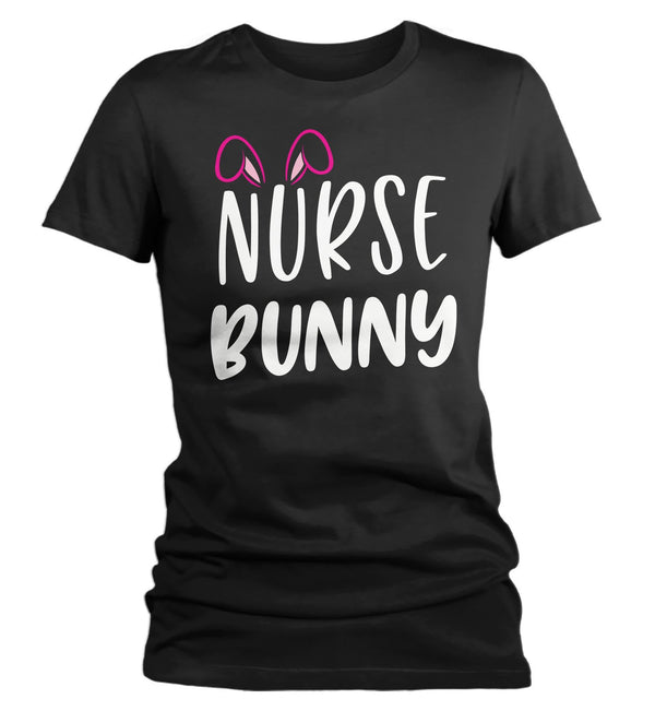 Women's Easter Shirt Nurse Bunny T-Shirts Cute Nurses Bunny Ears Easter TShirt Easter Tee Nursing Shirt-Shirts By Sarah