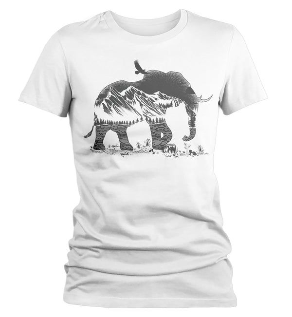 Women's Hipster T Shirt Elephant Shirts Camping TShirt Double Exposure Mountains Nature Shirts-Shirts By Sarah