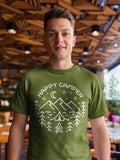 Men's Happy Camper T-Shirt Line Art Camping Shirt Wanderlust Tshirt Camping Shirts Mountains Shirt Tent Shirts-Shirts By Sarah