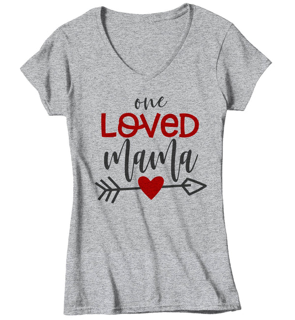 Women's Loved Mama T Shirt Mom T Shirts Arrow Valentine's Day Shirts Mama Heart Tee Mom TShirt-Shirts By Sarah