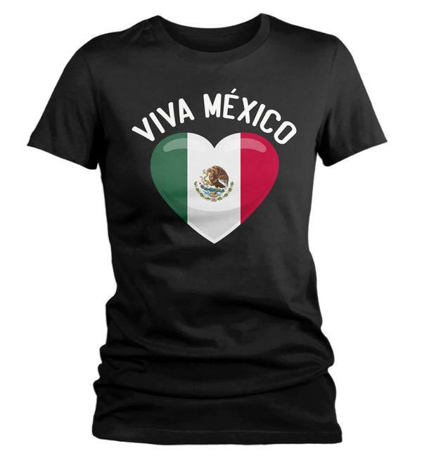 Women's Viva Mexico T Shirt Cinco De Mayo Shirts Mexican Flag Heart Graphic Tee Mexican Pride Tshirt-Shirts By Sarah