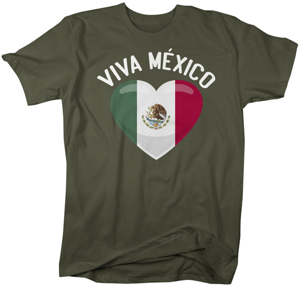 Men's Viva Mexico T Shirt Cinco De Mayo Shirts Mexican Heart Flag Graphic Tee Mexican Pride Tshirt-Shirts By Sarah