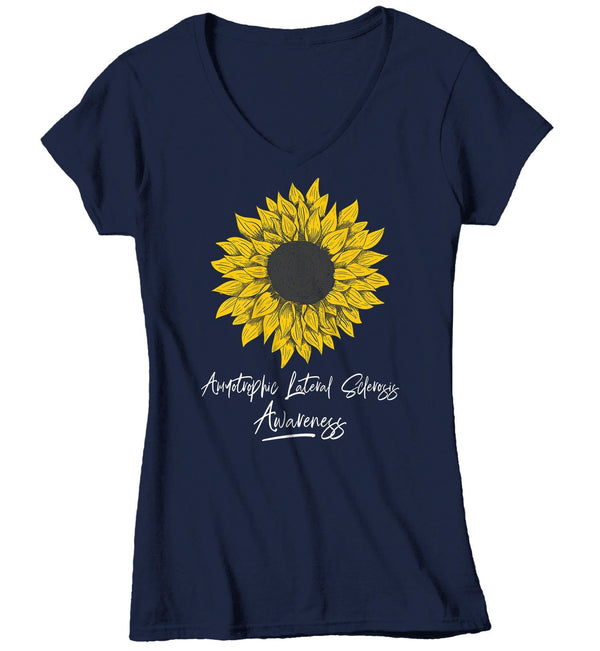 Women's ALS T-Shirt Sunflower Shirts ALS Amyotrophic Lateral Sclerosis Tshirt ALS Awareness Shirt-Shirts By Sarah