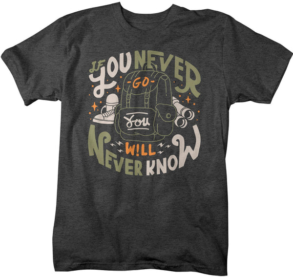 Men's Adventure T Shirt Camping Trekking Shirts If You Never Go Hipster Backpack Explore Graphic Tee-Shirts By Sarah
