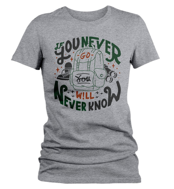 Women's Adventure T Shirt Camping Trekking Shirts If You Never Go Hipster Backpack Explore Graphic Tee-Shirts By Sarah