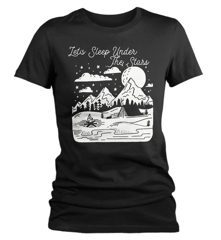 Women's Let's Sleep Under The Stars T-Shirt Camping Shirts Wanderlust Shirt Wanderlust Clothing-Shirts By Sarah