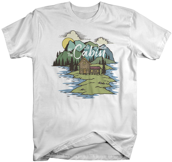 Men's Nature T-Shirt Life Is Better At Cabin Shirt Wanderlust Tshirt Camping Shirts Illustration Shirt-Shirts By Sarah