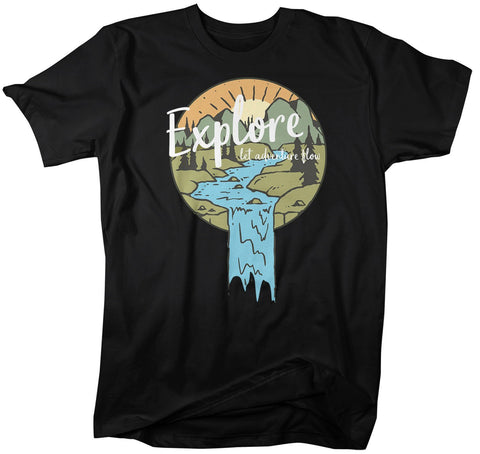 Men's Explore T-Shirt Let Adventure Flow Shirt Wanderlust Tshirt Camping Shirts Illustration Shirt Nature Shirts-Shirts By Sarah