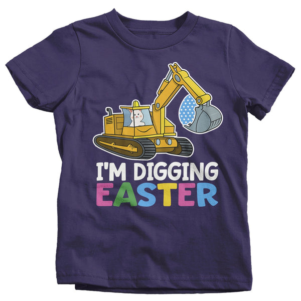Kids Funny Easter T Shirt Digging Easter Shirt Backhoe Shirt Boys Heavy Equipment Shirt Cute Easter Shirt-Shirts By Sarah