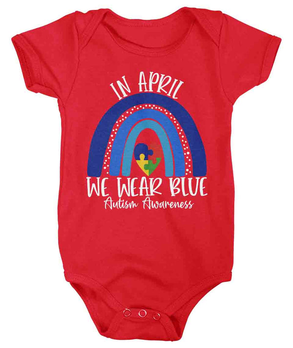 Baby Autism Shirt In April We Wear Blue T Shirt Autism Tee Cute Rainbow Shirt Support Autism Awareness Shirt Boy's Girl's-Shirts By Sarah