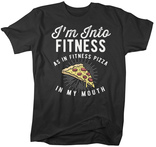 Men's Funny Pizza T Shirt Pizza Shirts Into Fitness Pizza In Mouth Workout Tee Foodie TShirt Pizza Shirts-Shirts By Sarah