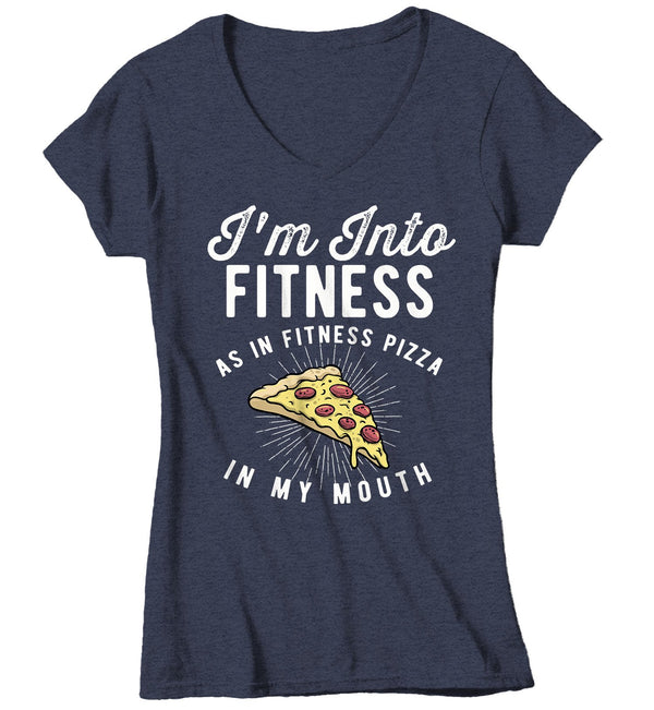 Women's Funny Pizza T Shirt Pizza Shirts Into Fitness Pizza In Mouth Workout Tee Foodie TShirt Pizza Shirts-Shirts By Sarah