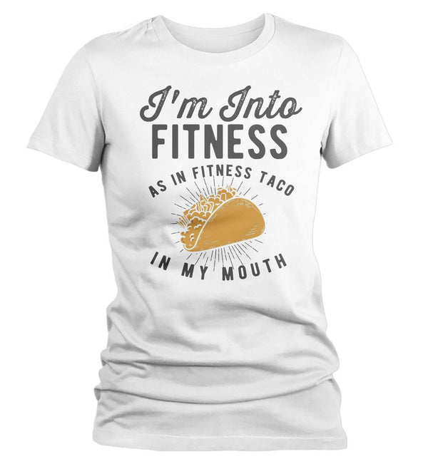 Women's Funny Taco T Shirt Taco Shirts Into Fitness Taco In Mouth Workout Tee Foodie TShirt Tacos Shirts-Shirts By Sarah