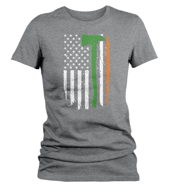 Women's Irish Firefighter Shirt Flag T Shirt Firewoman Gift Idea Firefighter Gift Axe Patriotic Tee Unisex Ladies V-Neck Soft Tee-Shirts By Sarah