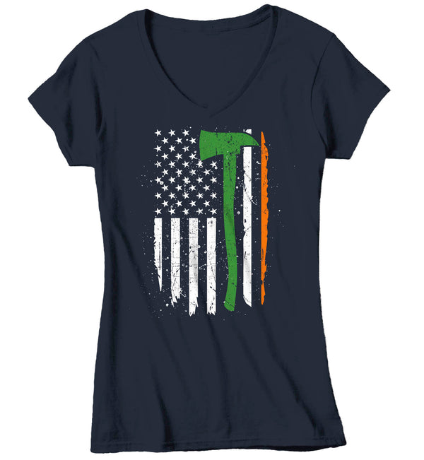 Women's V-Neck Irish Firefighter Shirt Flag T Shirt Firewoman Gift Idea Firefighter Gift Axe Patriotic Tee Unisex Ladies V-Neck Soft Tee-Shirts By Sarah