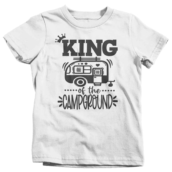 Kids Funny Camping Shirt King Of The Campground T Shirt Camper Pull Behind RV Camp 5th Wheel Camping Humor Saying Tee Boys-Shirts By Sarah