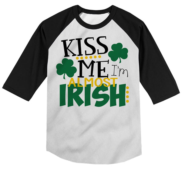 Shirts By Sarah Youth Funny ST. Patrick's Day T-Shirt Kiss Me I'm Almost Irish ¾ Sleeve Raglan-Shirts By Sarah