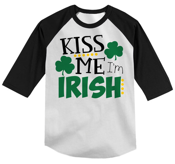 Shirts By Sarah Youth Funny ST. Patrick's Day T-Shirt Kiss Me I'm Irish ¾ Sleeve Raglan-Shirts By Sarah
