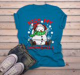 Men's Funny Christmas Shirt Kiss My Snowballs Christmas T-Shirt Snowman Shirt Offensive Christmas Shirt-Shirts By Sarah
