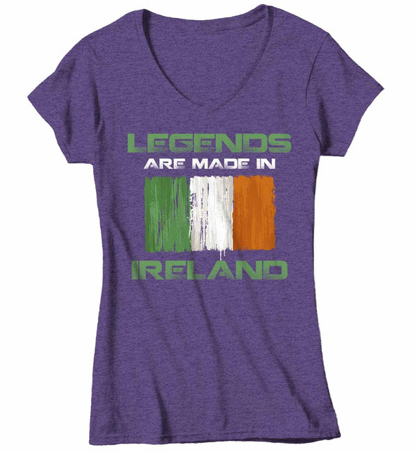 Women's V-Neck Funny Ireland T Shirt Legends Made In Ireland Shirt Irish Flag Shirt St. Patrick's Day Shirts-Shirts By Sarah