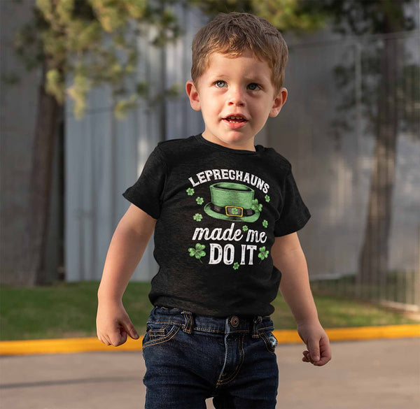 Kids Funny St. Patrick's Day T Shirt Leprechauns Made Me Do It St. Patricks Day Shirt Funny Leprechaun Shirt-Shirts By Sarah