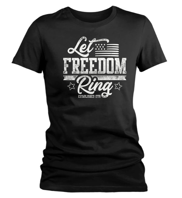 Women's Let Freedom Ring T Shirt Flag Shirt USA Patriotic TShirt Stars Stripes Tee Ladies Woman 4th July Gift Idea-Shirts By Sarah