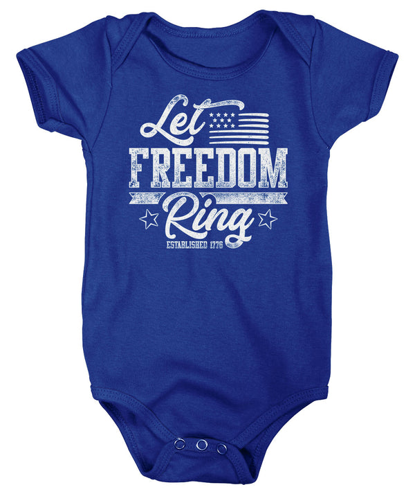 Baby Let Freedom Ring T Shirt Flag Shirt USA Patriotic TShirt Stars Stripes Tee Infant 4th July Gift Idea-Shirts By Sarah