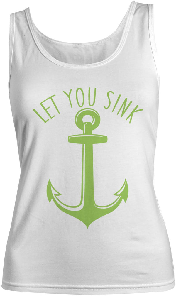 Women's Nautical Anchor Cotton Best Friend Tank Tops (Let You Sink)-Shirts By Sarah
