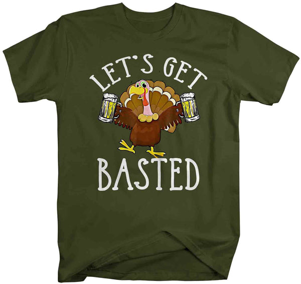Men's Funny Thanksgiving T Shirt Let's Get Basted Turkey Shirts Graphic Tee Vintage Design Beer Shirt Get Basted Shirt-Shirts By Sarah